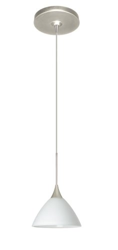 Besa Lighting 1XP-174307-SN Domi Pendant with White Glass, Satin Nickel Finish