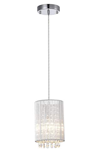 LaLuLa Pendant Lighting Mini Pendant Light Silver Drum Crystal Chandelier 1 Light by LaLuLa