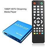 HDMI Media Player, Mini 1080P Full HD Video Player for USB Drives MKV / RM - SD / USB HDD - HDMI CVBS YPbPr - Blue by Kingpeony