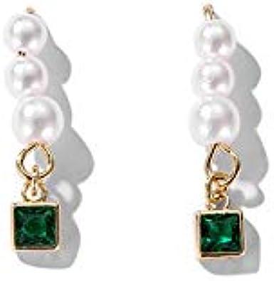 Pendientes De Aguja De Plata De Piedra Preciosa Verde Perla De Imitación Corta, Pendientes