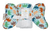 Baby Elephant Ears Head Support Pillow & Matching Blanket Gift Set (Blue Elephant)