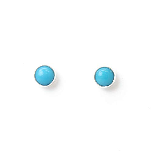 (Turquoise Stud Earrings, Small 4mm Blue Genuine Turquoise, Sterling Silver)