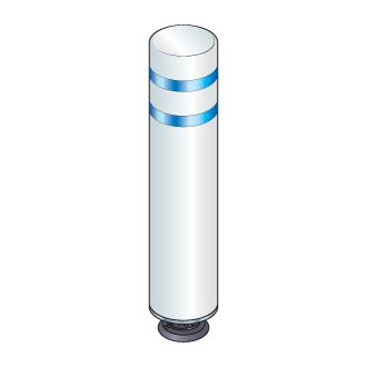 48 in. White Gorilla Post Magnetic Bollard with 2 Blue Reflective Stripes, Add On Kit