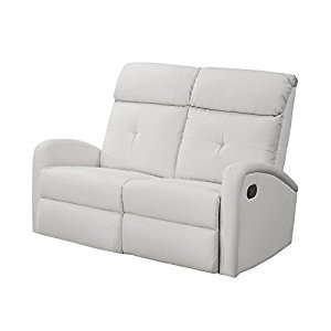 Monarch Specialties I 88WH-2 Reclining Loveseat in White Bonded Leather