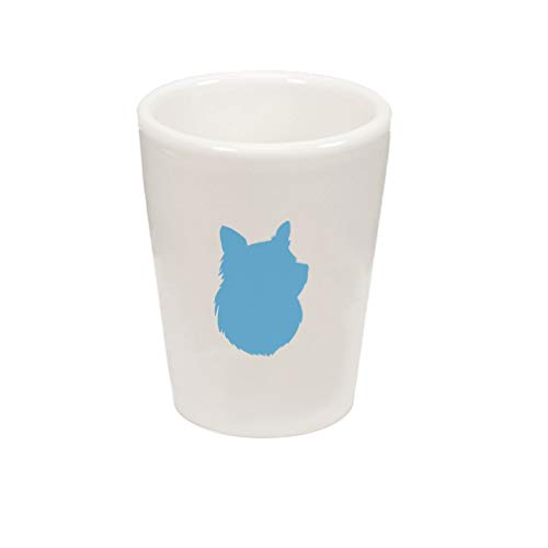 Blue Shetland Sheepdog Silhouette Ceramic Shot Glass Cup ()