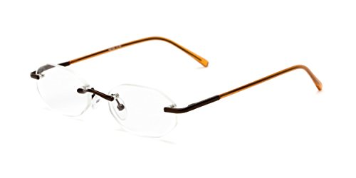 Readers.com The Clinton Hill +2.00 Bronze The Clinton Hill Rimless for Men or Women Oval Reading - For Faces Glasses Reading Narrow