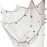Nature Fish Net Wall Decoration with Shells, Ocean Themed Wall Hangings Fishing Net Party Decor for Pirate Party,Wedding,Photographing Decoration (Ocean Decor Wall Themed)