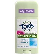 TOM'S OF MAINE Naturally Dry Womens Antiperspirant Stick Deodorant-Unscented, 2.25 Ounce