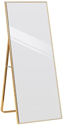Full Length Wall Mirror with Sleek Ultra-Thin Frame and Beveled Edges Hanging and Leaning Floor Mirror Crystal Clear Reflection Anti-Blast Film Perfect for Your Bedroom Living Room Setting Home Décor