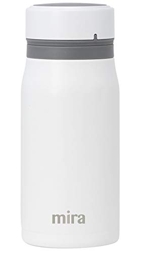 Mira 12 oz Insulated Small Thermos Flask | Kids Vacuum Insulated Water Bottle | Leak Proof & Spill Proof | White