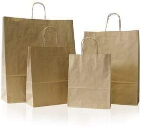 100 x White Paper Bags Twisted Handles 26x34+11cm Wedding Favour Bags Gift Bags