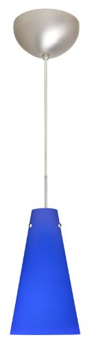(Besa Lighting 1JC-4124CM-SN 1X100W A19 Cierro Pendant with Cobalt Blue Matte Glass, Satin Nickel)