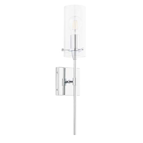 (Effimero Vanity Light Fixture – Chrome w/Clear Cylinder - Linea di Liara LL-WL31-PC)