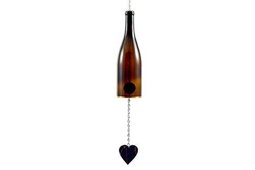 Wine Bottle Wind Chimes (Amber) Handmade Outdoor Decor and Hanging Yard Art | Garden, Patio, Backyard, Porch | Soft Windchime Tones | Vintage Farmhouse