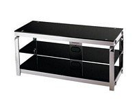 Lite Source LSH-5614 Enzo 3-Tier TV Stand, Chrome Metal Frame with Black Tempered Glass Shelves