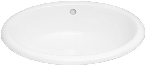 Ronbow 200392-WH Oval Ceramic Drop-in Bathroom Sink, White - Ronbow Oval Ceramic