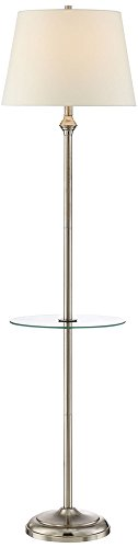 Dayton Satin Nickel Floor Lamp with Glass Tray Table (Chrome Glass Desk Lamp)