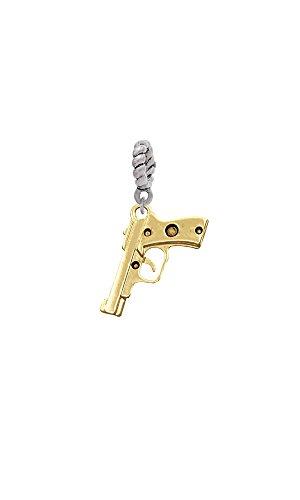 Goldtone 9mm Handgun - Rope Charm Bead