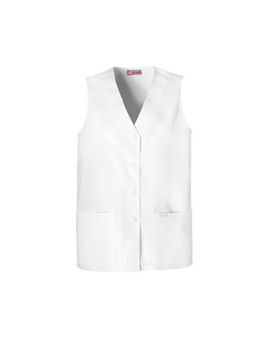 Cherokee Professional Whites Women's Button Front Vest Solid Scrub Top Xx-Large White ()