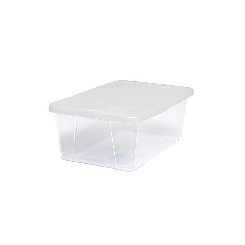 (Homz Plastic Storage Bins, Snap Lock White Lids, 6 Quart, Clear, Stackable, 10-Pack)