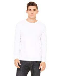 Bella + Canvas Unisex Jersey Long-Sleeve T-Shirt - WHITE - XS - (Style # 3501 - Original Label)