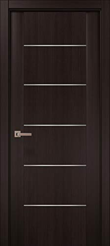 Pre-Hung Brown Modern Door 30 x 80 with 3D Strips | Planum 0030 Wenge | Frame Trims Lever Satin Nickel Hardware | Closet Solid Core Door
