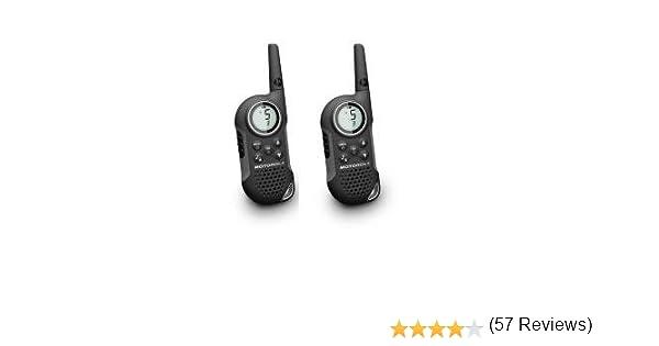 Motorola MOT-12101 - Walkie-Talkie (8 canales, monitor de frecuencia, temporizador), Negro y Plateado