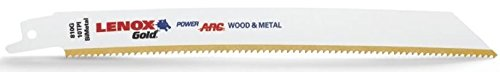"Lenox 21065-810GR 8"" x 3/4"" x 0.050"" 10-TPI Gold Power Arc Curved Metal Cutting Reciprocating Saw Blade 5 per Package"