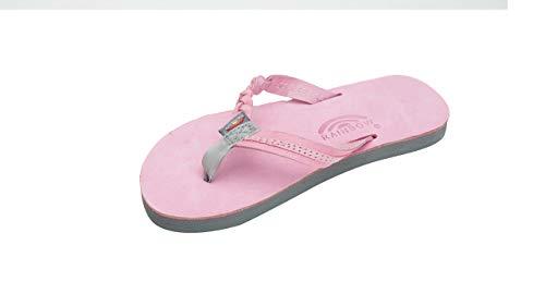 (Rainbow Sandals Kid's Single Layer Premier Leather Flirty Braidy, Pink/Grey, Kid's 4-5 B(M) US)