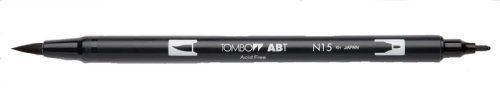 Tombow Dual Brush Pen, Black (66621) Pack of 6 pcs. (Tombow Pen Permanent)