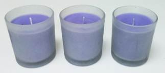 """Aromatherapy Hosley® Lavender Highly Scented, Set of 3 Large Frosted Glass Filled Candles 3""""H, 4 OZ Each,up to 72 HOUR BURN TIME EACH Bulk Buy, Perfect Votive Gift for WEDDING, PARTY, SPA, Zen, Reiki"""