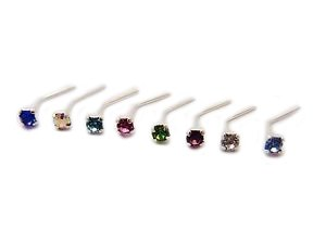 FULL SET OF 8 DIFFERENT COLOUR CZ JEWEL STERLING SILVER NOSE STUDS 7YVszge