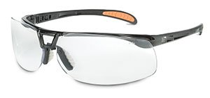 Metallic black Uvex Protégé Safety Glasses - Clear, Ultra-dura (16 Per Pack) - R3-S4200 Coated Espresso Lens