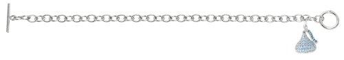 Sterling silver & plexi blue Cubic Zirconium 3D Hershey's Kiss March Bracelet with one Medium kiss