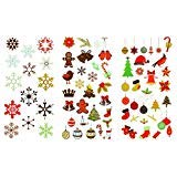 325 Christmas and Holiday Temporary Flash Tattoos (10 Premium Sheets of Metallic Gold, Silver, Red, Black, Green and Multi-Color, Multi Design Festive Tattoos)