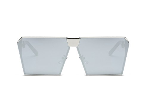 Amomoma Sunglasses For Womans Metal Frame Flat Top Big Mirror Lens AS1702 Silver Frame/Silver Lens (Teardrop 3 Shades Glass)