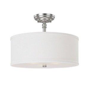 Capital Lighting 3923MN-480 Semi-Flush Mount with White Fabric Shades, Matte Nickel Finish