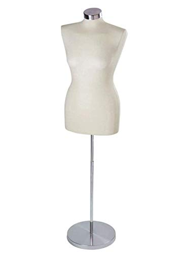 Only Hangers Female Jersey Dressmaker Form - Includes Adjustable Height Base, Dress Form and Chrome Neck Cap