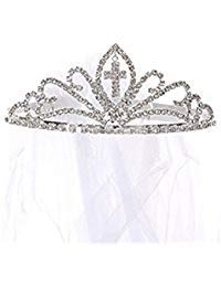 Kids Dream Girls Cross First Communion Veil Tiara Crown (White, OS)