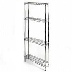 "Review 8""d x 24""w x 96""h Chrome Wire Shelving with 4 By Shelving Inc by Shelving Inc"