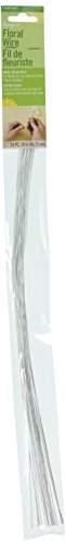 FloraCraft 24 Piece 26 Gauge Floral Stem Wire 18 Inch White-Wrapped