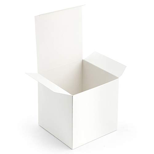 ValBox 4x4x4 White Gift Boxes 50PCS Kraft Paper Boxes with Lids for Gifts, Crafting, Cube, Cupcake Boxes | Easy Assemble Boxes for Party Favor -