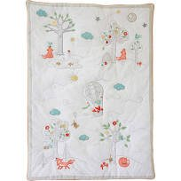 The Little Acorn Fox and The Finch Quilt, White, Small