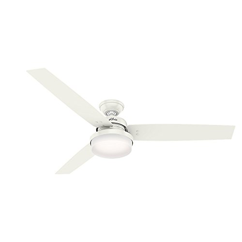 "Price comparison product image Hunter 59456 Hunter Sentinel Ceiling Fan with Light with Handheld Remote,  60"",  Fresh White"