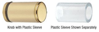 C.R. LAURENCE SDKP212BR CRL Brass Cylinder Style Single-Sided Shower Door Knob With Plastic Sleeve