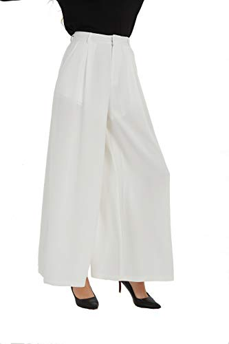 (Tronjori Women High Waist Casual Wide Leg Long Palazzo Pants Trousers(S, White))
