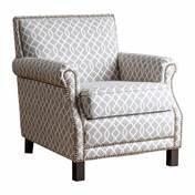 [Accent Chairs / Chair Living Room, Black Finish ABBYSON LIVING Chloe Grey Pattern Club Chair BR-CC1103-GRYSWRL, (28.5