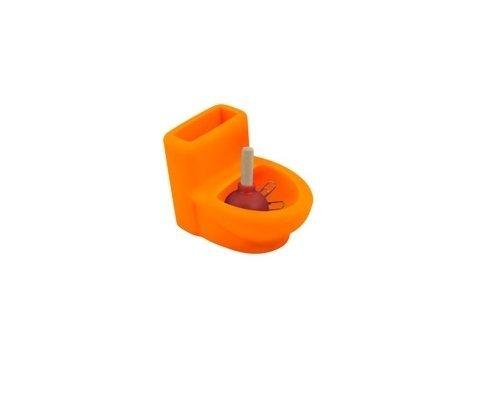 Orange StealStreet SS-KD-3550-ORANGE 4, 4 Inch Toilet and Plunger Pen//Paper Clip Holder Office Decor