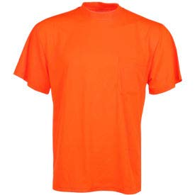 GSS Safety 5502 Moisture Wicking Short Sleeve Safety T-Shirt with Chest Pocket - Orange, XL, (Pack of 5) (5502-XL)