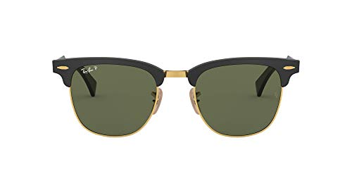 Ray-Ban RB3507 Clubmaster Aluminum Square Sunglasses, Black & Gold/Polarized Green, 51 mm (Ray-ban Clubmasters, Schwarzen)